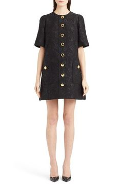 Dolce&Gabbana Button Front Floral Jacquard A-Line Dress available at…