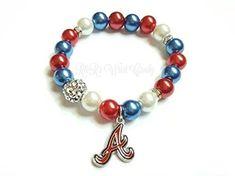 Atlanta Baseball Beaded Bracelets,Baseball Bracelets, Stretchy,Team,Womens Handmade Custom Beaded Jewelry