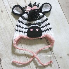 Repeat Crafter Me: Crocheted Free Zebra hat Pattern