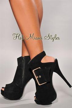 Black Faux Suede Gold Buckle High Heel Booties $39.99