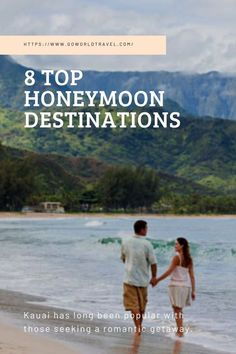 In Hawaii, you can spend most of your honeymoon enjoying the Great Outdoors. Savor breakfast on your outdoor lanai, and then hike the Napali Coast. Spend the afternoon snorkeling at Anini Beach or saddle up and explore Kauai's backcountry on horseback. One of the most romantic hotels in Kauai is the St. Regis Princeville, which has a stunning location overlooking Hanalei Bay. The deck at Makana Terrace is the perfect place to watch the sunset. #WorldTrip #BudgetTravel #RomanticTravel… Top Honeymoon Destinations, Amazing Destinations, Travel Destinations, Travel Pictures, Travel Photos, Travel Tips, Romantic Getaway, Romantic Travel, Kauai Hotels