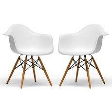Eames Inspired Molded Plastic Chair, Set of 2 - White made by Retro-Luxe.  very vintage