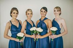 Beautiful @goddessbynature bridal party wearing the Nautical Navy colour such an amazing colour that suits all skin tones & colour! we love how Lorren's bridesmaids have worn them all different ways to suit their own style! Anna Rose Photography www.annarosestudio.com