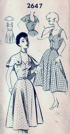 Vintage 40s 50s Mail Order Dress & Capelet Sewing Pattern 2647 B30 12