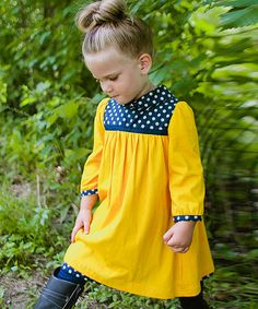 Another great find on #zulily! Goldenrod & Navy Polka Dot Yoke Dress - Toddler & Girls by The Dragon and the Rabbit #zulilyfinds