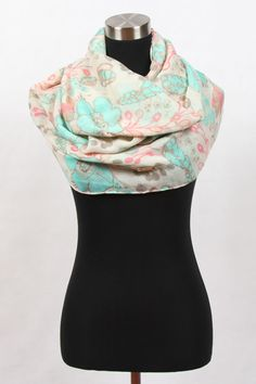 (Courage) Mixed Floral - Beige 100% Viscose Infinity Scarf