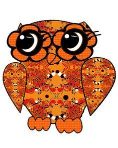 orange owl by Susie Kunzelman