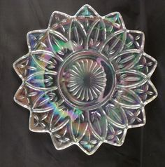 FEDERAL PATTERN INDIANA GLASS IRIDESCENT CLEAR CARNIVAL GLASS PETAL PLATE