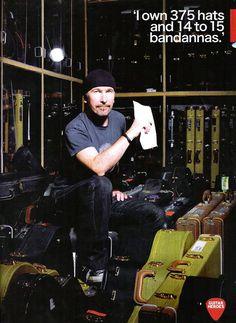 while Bono owns 500 pairs of sunglassess. Adam Clayton, Larry Mullen Jr., Mr Sandman, The Edge U2, U2 Band, Bono Vox, Dublin, Irish Rock, Cool Lyrics