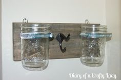 Mason Jar Wall Holder, good for flowers, makeup brushes and more