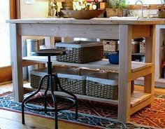 Domestic Jenny: diy kitchen island plans, instead of shelves have bars to hang pots and pans from and other things:) Diy Furniture Plans, Furniture Projects, Kids Furniture, Farmhouse Furniture, White Furniture, Easy Diy Projects, Home Projects, Wood Kitchen Island, Kitchen Islands