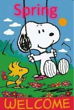 Spring Welcome -Snoopy Swinging on a Swing While Woodstock Watches Nearby