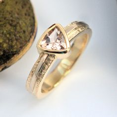 Morganite trillion yellow and white gold ring
