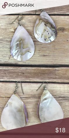 """Vintage Shell Earrings Vintage pIerced earrings made of iridescent shells.  Approx 2"""" drop and 1 1\2"""" at widest part. Jewelry Earrings"""