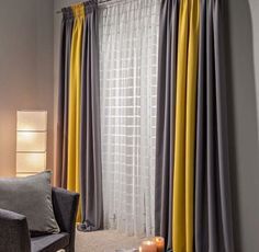 https://www.eperde.com Dark Grey Curtains, Striped Curtains, Privacy Curtains, Window Curtains, Sheer Curtains, Mustard Yellow Curtains, Curtain Designs, Curtain Styles, Yellow Sofa