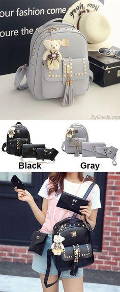86615ae4e03b Fashion PU Girl s Metal Rivets Tassel School Backpack Gift Bear