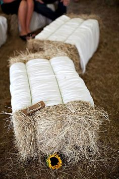 haybale wedding seating with white fabric - Deer Pearl Flowers