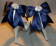 Satin Bow Shoe Clips - set of 2 - with sparkling rhinestones, Bridal Shoe Clips, Many colors to shoose from $36