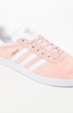 52c5027e70d A classic indoor soccer shoe gets a modern rendition in the adidas Pink  Gazelle Sneakers. These women s sneakers are defined by a pigskin leather  upper that ...