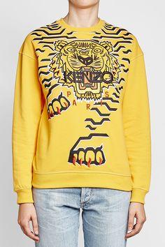 KENZO - Embroidered Cotton Sweatshirt | STYLEBOP Yellow Style, Yellow Fashion, Kenzo, Graphic Sweatshirt, Sweatshirts, Sweaters, Cotton, Shopping, Women