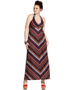 $59.00 American Rag Plus Size Dress, Sleeveless Striped Halter Maxi