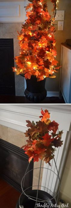 Easy DIY Fall Leaves Potted Topiary Tree From a Tomato Cage.
