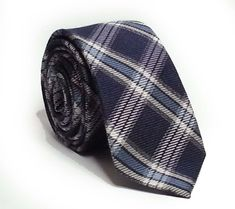 """#home  ebay DKNY Men's Blue wool silk Blend Slim tie Plaid Pattern 2.5"""" wide 57"""" long withing our EBAY store at  http://stores.ebay.com/esquirestore"""