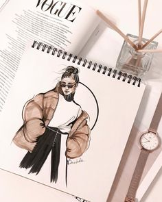 Fashion illustrator / designer 在 Insta. Fashion Sketchbook, Arte Sketchbook, Fashion Illustration Sketches, Illustration Mode, Fashion Sketches, Drawing Sketches, Fashion Design Inspiration, Fashion Design Portfolio, Fashion Design Drawings