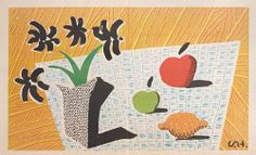 David Hockney, Two Apples, One Lemon and Four Flowers  Fantastic holiday gift for your home decor   1997 www.denisbloch.com