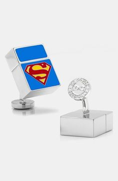 Superman Flash Drive Cuff Linnks - In case you ever need an emergency flash drive, you can use your cuff links!!  hmmmm.....