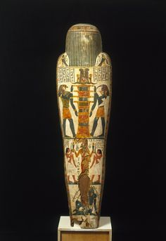 Cartonnage of Nespanetjerenpere. This Egyptian coffin dates to the Third Intermediate Period (ca. 945-718 BC), and is reportedly from Thebes.      Cartonnage, a substance made of cloth or papyrus mixed with plaster and water, was used during the Third Intermediate Period to make an innermost case for the mummified body. The mummy was inserted and the covering was then painted with funerary scenes and inscriptions and placed in one or more coffins, which had been decorated in much the same way.