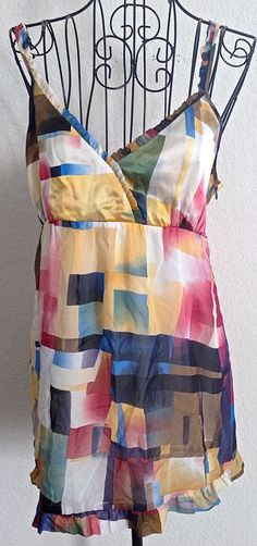 Kensie Top Blouse Camisole 100% Silk Geometric Ruffled Lined Size M NWT #Kensie #Top