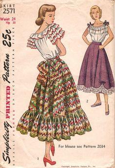Simplicity 2571 ©1948 Peasant Skirt