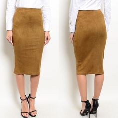 SALE Light Brown High Waist Suede Pencil Skirt New in retail packaging. Light brown faux suede pencil midi skirt. Has bodycon fit and high waisted design. Very stretchy. Available in S, M, and L.                                                                        90% polyester, 10% spandex.                                      PRICE IS FIRM UNLESS BUNDLED.                             ❌SORRY, NO TRADES. Boutique Skirts Pencil