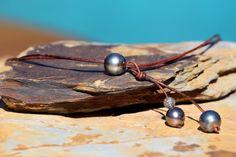 Tahitian Pearl w Pave Diamonds on Leather Necklace, Tahiti Pearls w Pave Diamond Bead and Distressed Greek Leather, Organic Boho Beach Chic