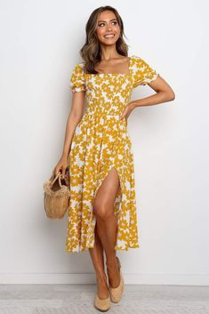 Back in Stock - Petal & Pup Flower Dresses, Cute Dresses, Casual Dresses, Cute Outfits, Summer Dresses, Yellow Dress Summer, Yellow Floral Dress, Midi Dresses, Casual Outfits