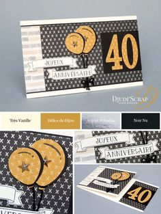 Carte Anniversaire « Framelits Grands Chiffres » – Djudiscrap 40th Birthday, Birthday Cards, Bee Cards, Men's Cards, Stamping Up Cards, Masculine Cards, Anniversary Cards, Silhouette Cameo, Stampin Up