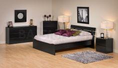 Prepac  Avanti 4 PC Bedroom Set (Full/Double Platform Bed, Two Nightstands and Dresser) in Black