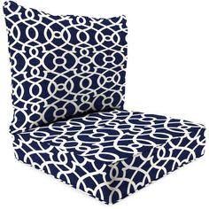 Jordan Manufacturing Outdoor Patio 2-Piece Deep Seat Chair Cushion, Wescott Navy