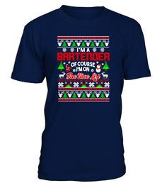 Bartender Gift Ugly Christmas Sweater (Round neck T-Shirt Unisex - Navy) #posters #men #outdoors bartender tricks, bartender recipes whipped cream, bartender recipes parties, back to school, aesthetic wallpaper, y2k fashion