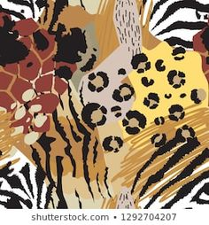 Vector abstract seamless pattern with animal skin motifs. Tropical Wallpaper, Abstract Animals, Portfolio, Illustrations, Pattern Wallpaper, Painting & Drawing, Animal Print Rug, Pattern Design, Print Patterns
