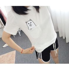 >> Click to Buy << Women T Shirt 2017 Summer Style T-shirt Print Middle Finger Pocket Cat Harajuku O-neck Short Sleeve Cotton Couple Tee #Affiliate