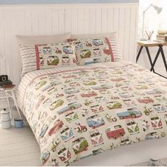 Campervans VW Scooter Retro Beige Green Blue Duvet Quilt Cover Bedding Set B King Size Quilt Covers, King Size Duvet Sets, Quilt Cover Sets, Vw T1, Volkswagen Bus, Vw Camper, Vw Syncro, Double Duvet Set, Double Duvet Covers