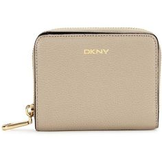 Womens Wallets DKNY Chelsea Small Taupe Leather Wallet ($105) ❤ liked on Polyvore featuring bags, wallets, leather zipper wallet, zip coin wallet, snap wallet, leather snap wallet and zipper wallet