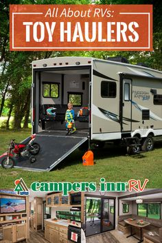 Think Camping Isn't For You? - Useful Camping Tips and Guide Toy Hauler Trailers, Toy Hauler Camper, Toy Hauler Travel Trailer, Travel Trailers, Vw Bus, Volkswagen, Camping List, Camping World, Camping Cabins