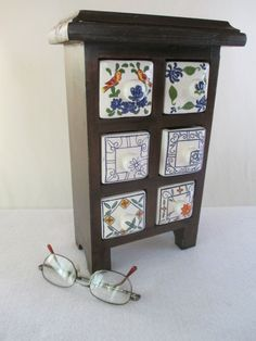Storage Vintage Wood with 6 Ceramic Drawers Old by HobbitHouse