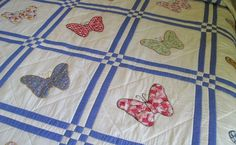 Butterfly Quilt Close-up: note quilting inside squares.