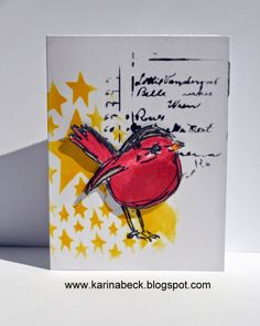 red bird with yellow stars by Karinas Scrap: Scribbly Birds designs og feriebilleder.