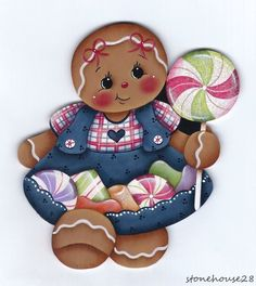 HP GINGERBREAD Girl with Candies FRIDGE MAGNET #Handpainted