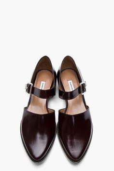 Carven | Burgundy Leather Buckled D'Orsay Flats